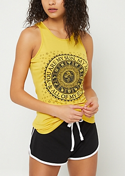 Yellow Sun Moon Stars High Neck Tank Top