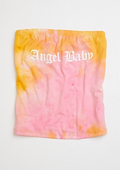 Pink Tie Dye Angel Baby Graphic Tube Top