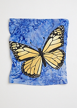 Blue Tie Dye Butterfly Graphic Tube Top