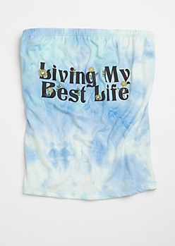 Light Blue Tie Dye Best Life Graphic Tube Top