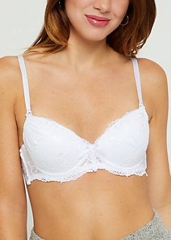 White Lace Deep Plunge Push Up Bra
