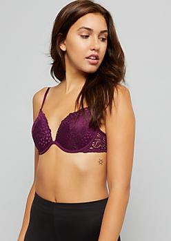 Dark Purple Scalloped Lace Deep Plunge Bra