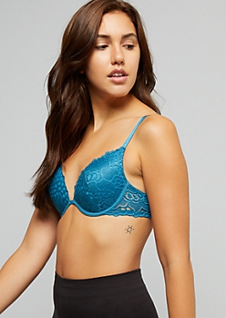 Teal Scalloped Lace Deep Plunge Bra