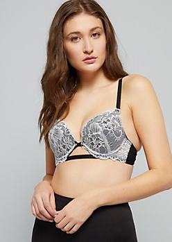 edef3dde36297 Black And White Lace Deep Plunge Push Up Bra