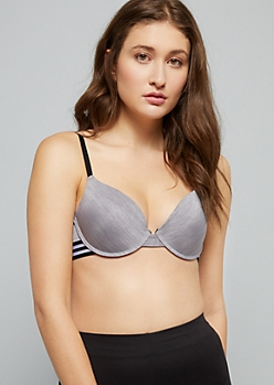 Gray Space Dye Striped Deep Plunge Push Up Bra