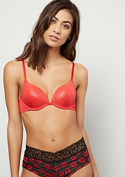 Red Metallic Push Up Deep Plunge Bra