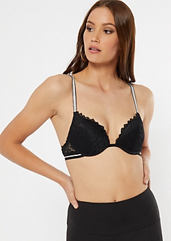 Black Lace Caged Back Push Up Bra