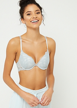 Light Gray Floral Lace Deep Plunge Bra