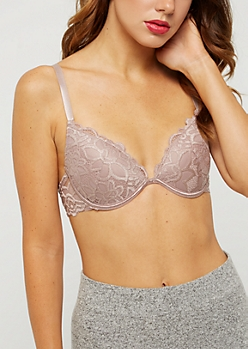 Taupe Floral Lace Deep Plunge Bra