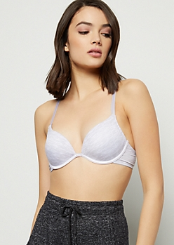 Gray Space Dye Push Up Deep Plunge Bra