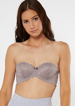 Taupe Lace Balconette Push Up Bra