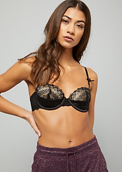 Black Bow Lace Satin Demi Push Up Balconette Bra