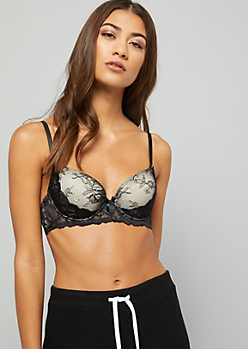 Black Double Floral Print Lace Demi Push Up Bra
