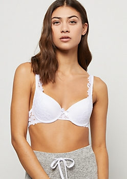 White Floral Lace Overlay Demi Bra