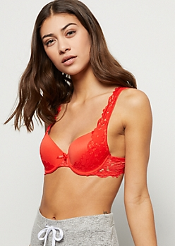 Red Floral Lace Overlay Demi Bra