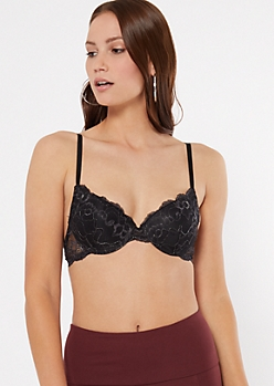 Black Metallic Lace Demi Push Up Bra