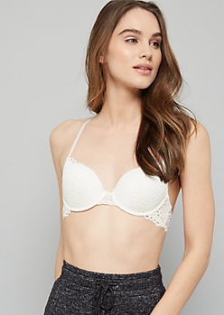 Ivory Lace Crisscross Back Demi Push Up Bra