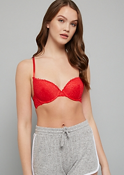 Red Lace Crisscross Back Demi Push Up Bra