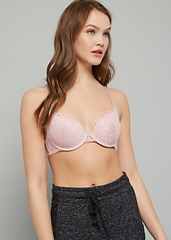 Pink Lace Crisscross Back Demi Push Up Bra