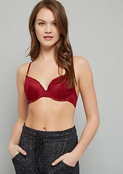 Burgundy Lace Crisscross Back Demi Push Up Bra
