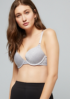 Gray Space Dye Soft Push Up Bra