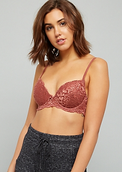 Burgundy Allover Lace Duo Strap Demi Bra
