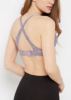 Lavender Lace Cross Back Demi Bra