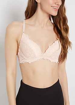 Dusty Pink Lace Cross Back Demi Bra