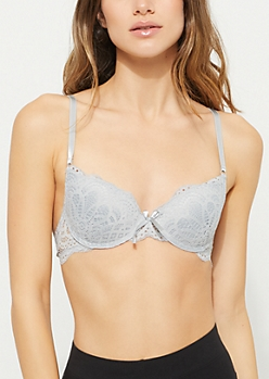 Light Gray Geo Lace Deep Plunge Push Up Bra