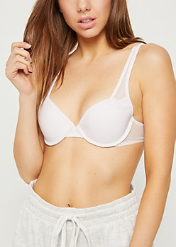Light Purple Mesh Accent Demi T Shirt Bra