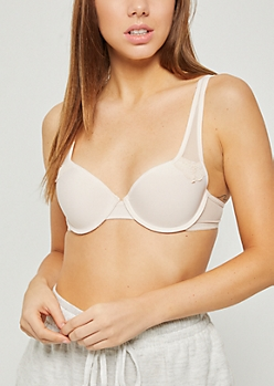 Peach Mesh Accent Demi T Shirt Bra