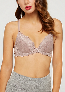 Taupe Floral Lace Cross Back Deep Plunge Bra