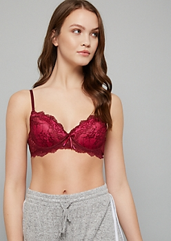 Burgundy Double Lace Extreme Push Up Bra