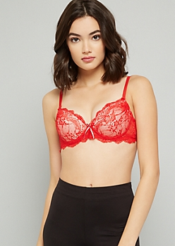 Red Lace Push Up Demi Bra