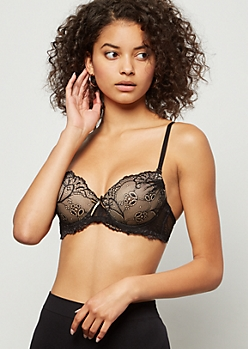 Black Lace Ruched Push Up Bra