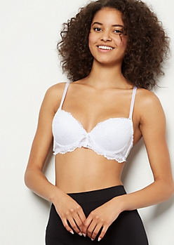 White Lace Ruched Push Up Bra