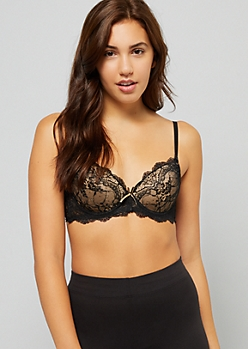 Nude Ruched Fishnet Lace Push Up Bra