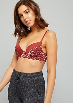 Burgundy Metallic Lace Push Up Bra