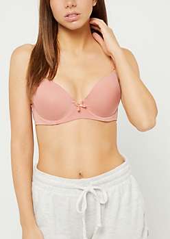 Medium Pink Microfiber Push Up T Shirt Bra