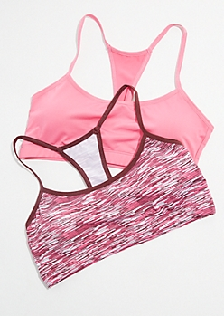 2-Pack Spacedye Cutout Racerback Sports Bra Set