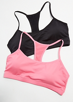 2-Pack Pink Cutout Racerback Sports Bra Set