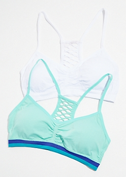 2-Pack Mint and White Cutout Sports Bra Set