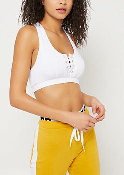 White Lace Up Mesh Racerback Sports Bra