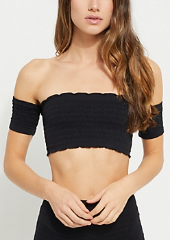 Black Off Shoulder Smocked Bandeau Top