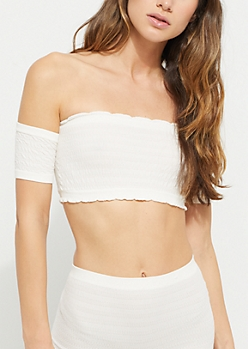 Ivory Off Shoulder Smocked Bandeau Top