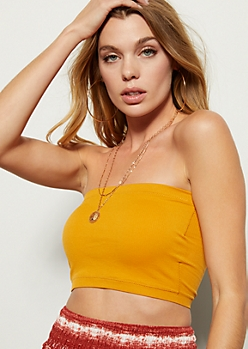 Mustard Ribbed Knit Bandeau