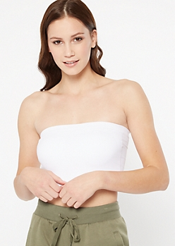 White Seamless Ribbed Knit Bandeau