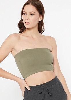 Olive Seamless Ribbed Knit Bandeau
