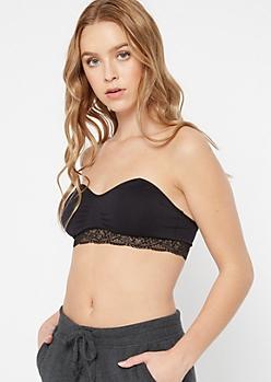 Black Lace Trim Cinched Seamless Bralette