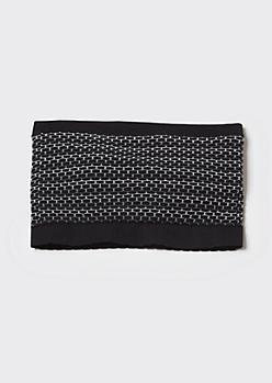 Black Jacquard Knit Bandeau Bra